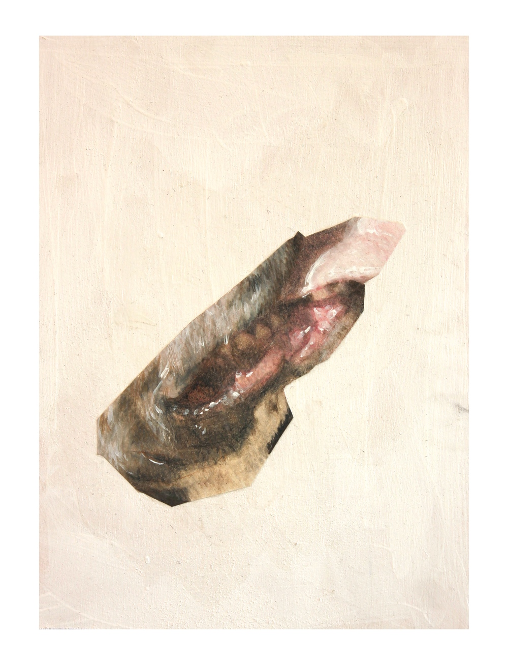 """Mouth"" (2015)<br>Colored Pencil, Acrylic, and Paper on Panel, 12 x 9 in."