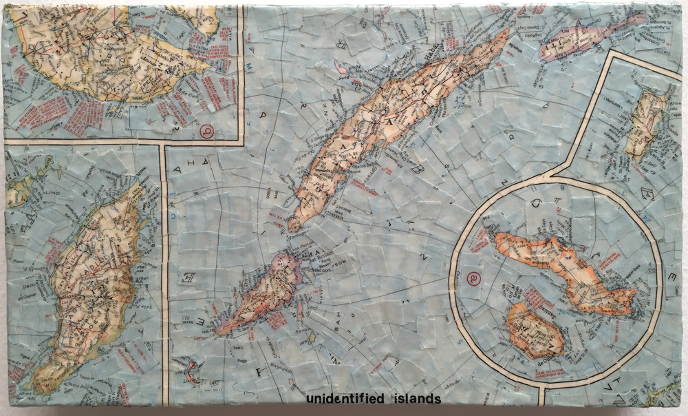 """Unidentified Island"" (2010)<br>Torn map collage on canvas, 7.5 x 12 x 2 in."