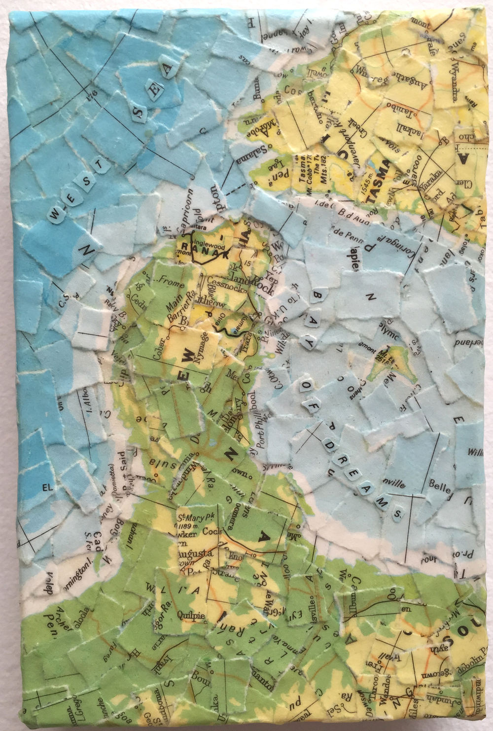 """Bay of Dream"" (2008)<br>Torn map collage on canvas, 6 x 4 in."