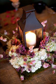 www.kaylabellevents.com, purple lantern wedding centerpiece, lantern floral centerpiece