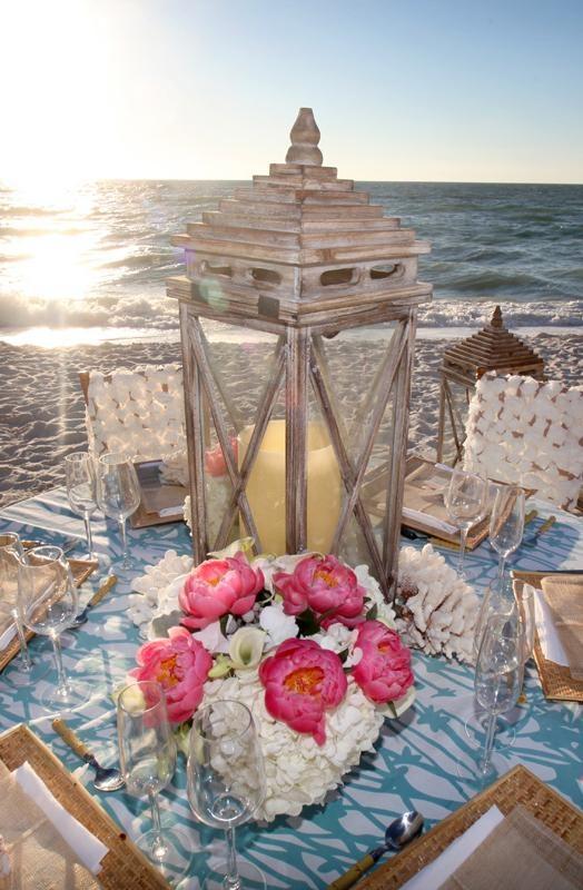 www.kaylabellevents.com, beach wedding, beach lantern centerpiece