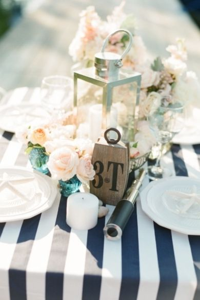 www.kaylabellevents.com, nautical lantern centerpiece, white lantern, striped tab;ecloth, blue and white wedding