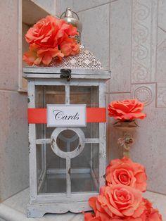 www.kaylabellevents.com, card holder, lantern card hold, rustic glam wedding, shabby chic wedding
