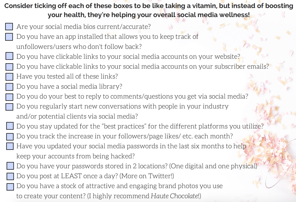 how healthy are your social media accounts checklist clear