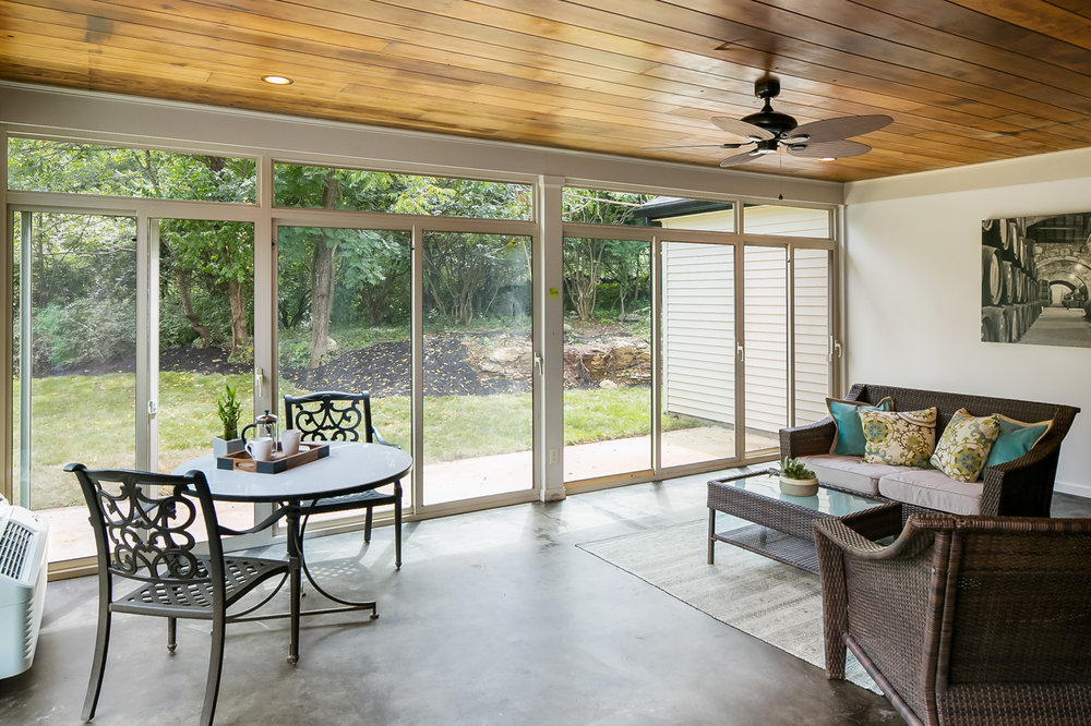 Glassed-in, fully climate-controlled sunroom
