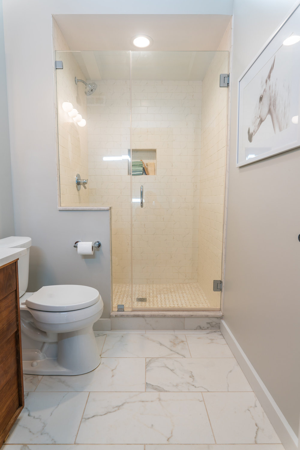 Hall bath with walk-in shower