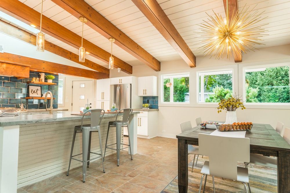 Natural light in kitchen and dining area