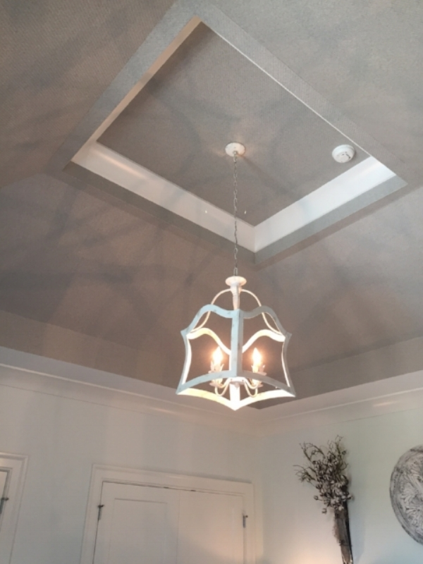 Bedroom ceiling in House #6, the Bridgehampton, by  Artisan Signature Homes  - that's actually textured wallpaper!