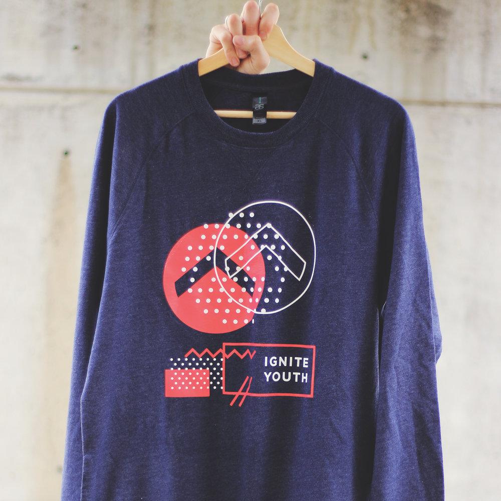 Logo Sweatshirt - Navy / Red. Printed on AS Colour Brush Crew
