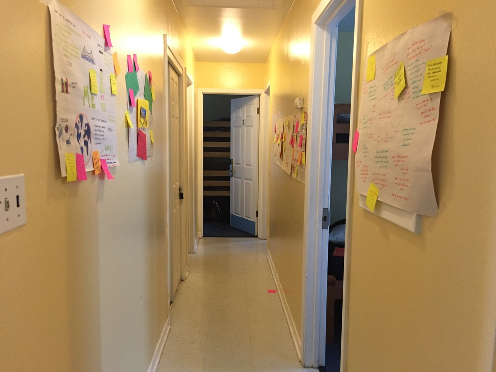 Goals Gallery: participants respond to posters by attaching post-it notes to posters that are hung around the space.