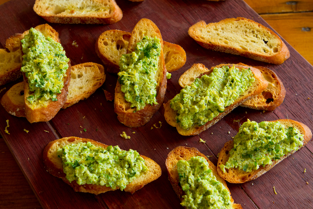 Fava Bean Hummus on Crostini