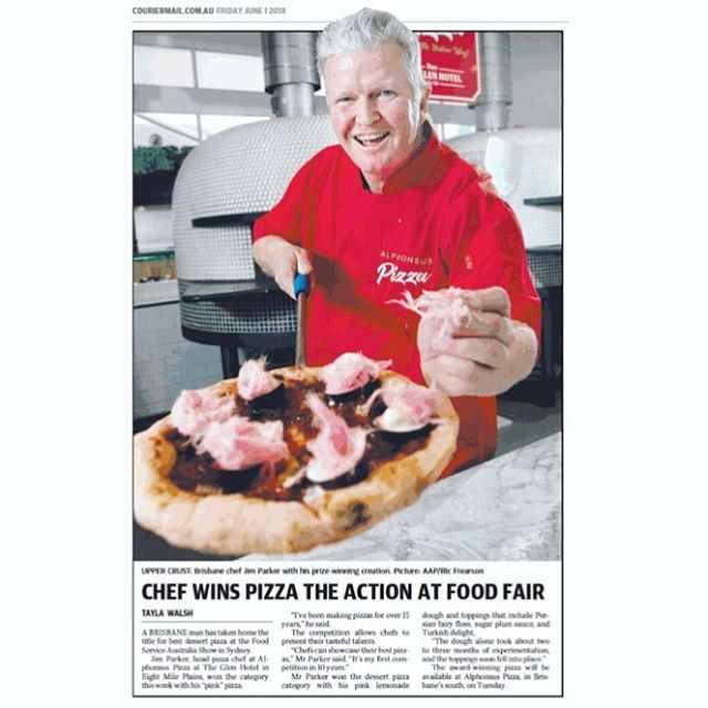 Wonderful little spotlight by the CourierMail [BNE] on Jim [James] Parker of Alphonsus Pizza of The Glen Hotel, QLD!  Jim took out the Dessert category as well as placing 1st overall runner up!  Go Jim! @glenhotelqld @pizza_art__