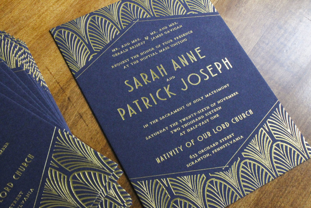 Gatsby Themed Gold Foil Wedding Invitation