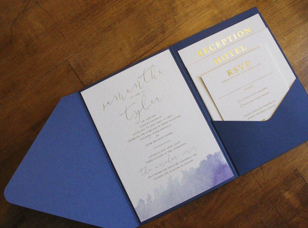 Gold Foil Watercolor Wedding Invitation Pocket