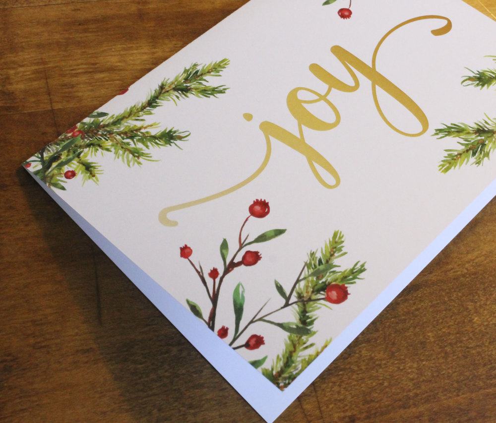 Holiday Cards Joy Evergreens