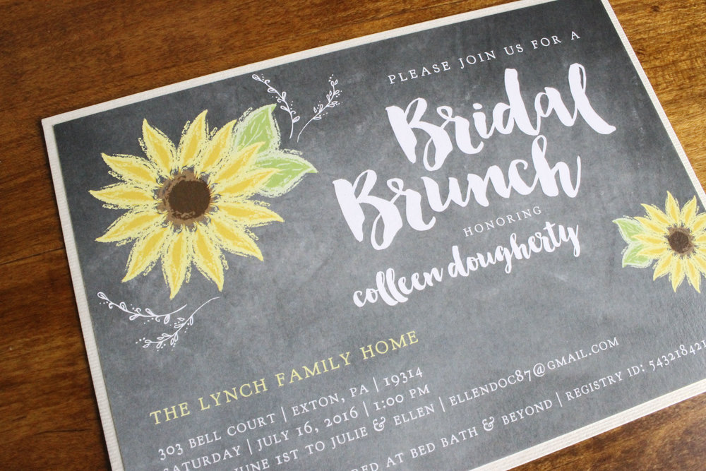 Bridal Shower Chalk Board Sunflowers