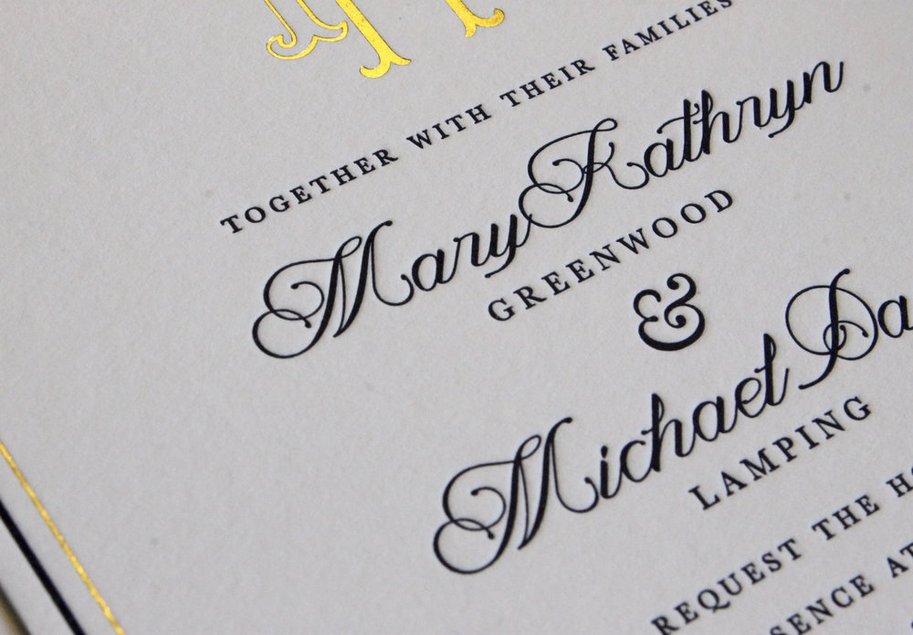 Letterpress and Gold Foil Wedding Invitation Suite