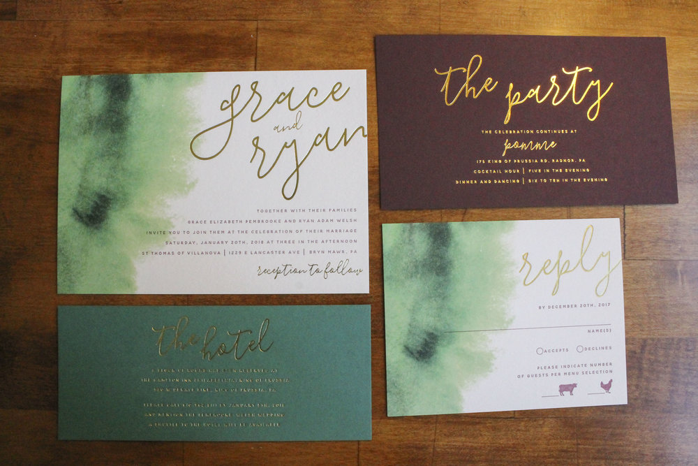 Gold Foil Stamped Wedding Invitations: Burgundy Green Gold Foil Wedding Invitations