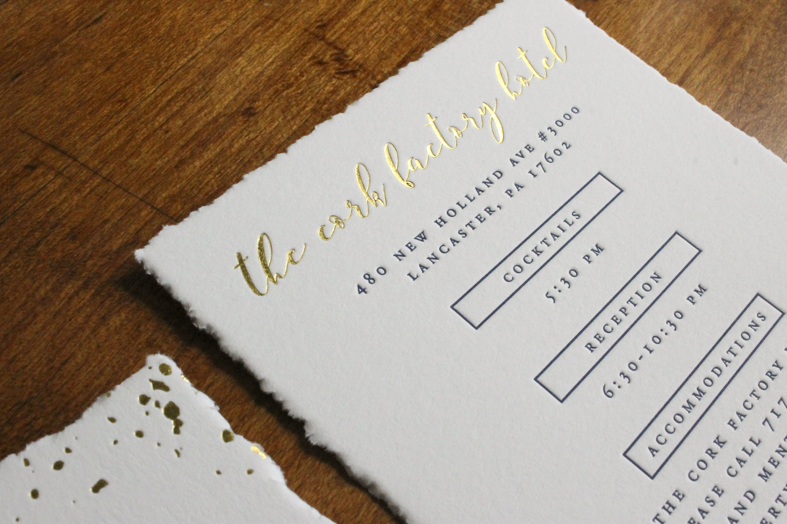 Rustic Letterpress and Gold Foil Wedding Invitations - Stock & Stamp ...