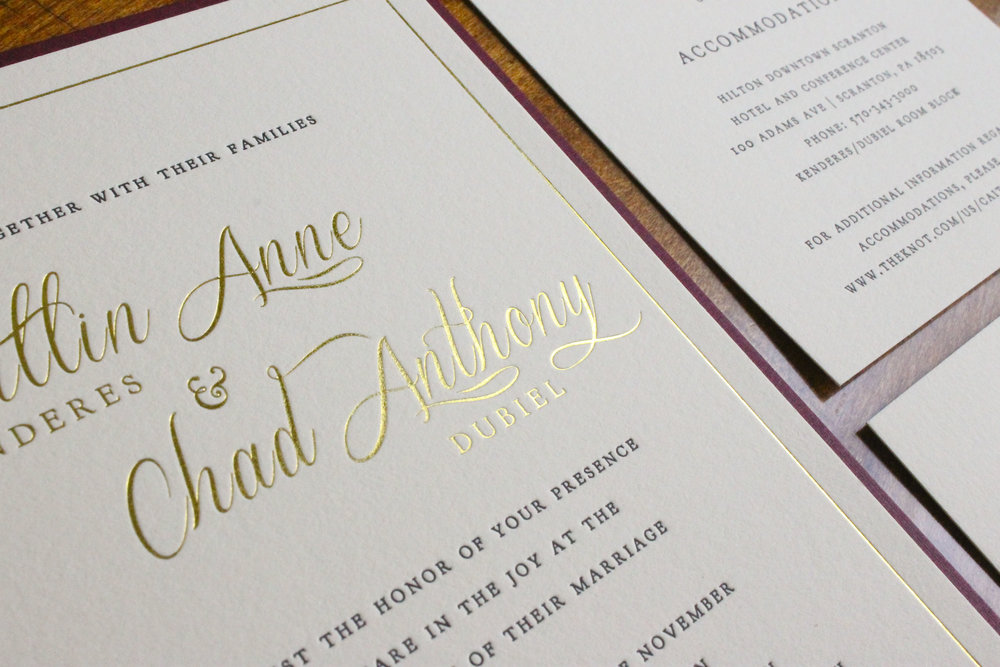 Letterpress and Gold Foil Wedding Invitation