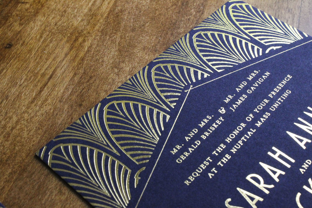 Gatsby Theme Gold Foil Wedding Invitation