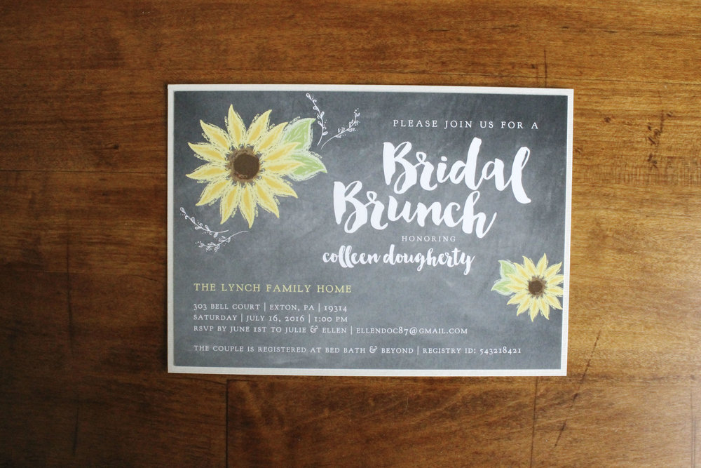 Bridal Shower Invitation Chalk Board Sunflower