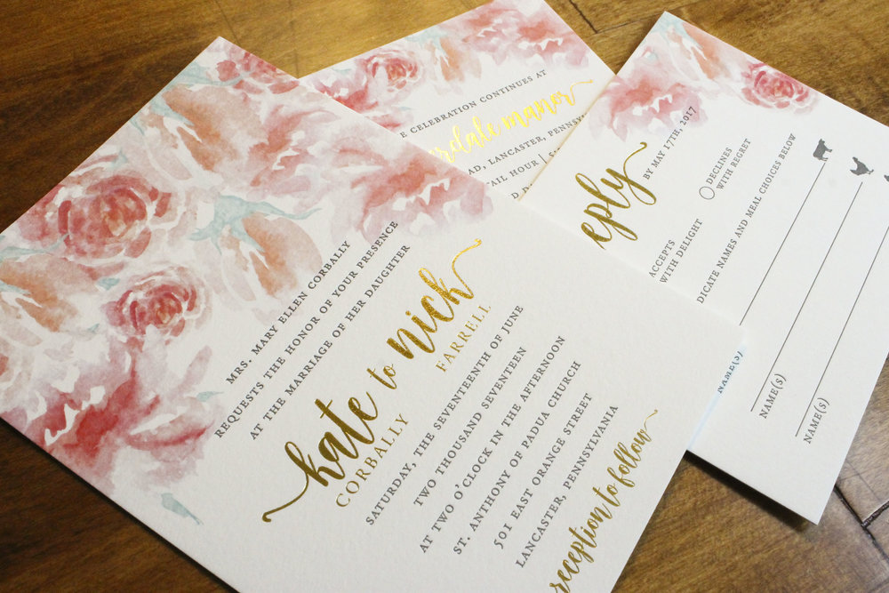 Floral Watercolor Letterpress and Gold Foil Stamped Wedding Invitations