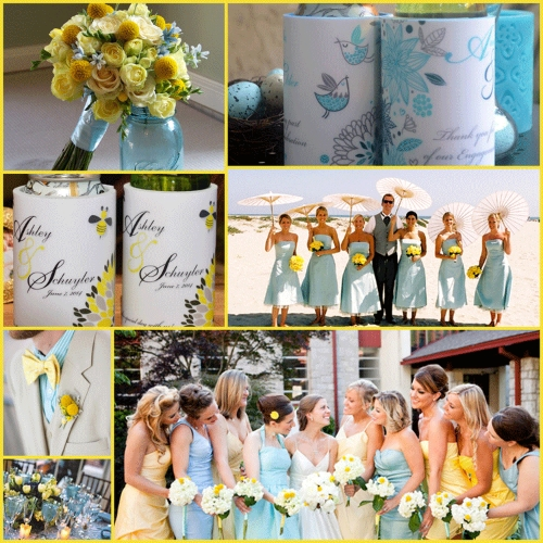 Yellow, Baby Blue and Grey - a stunning wedding stubby holder ...
