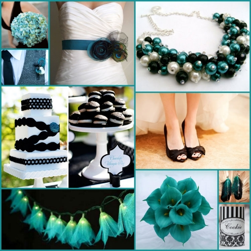 Black, White and Teal for your wedding stubby holders — COOLAZ