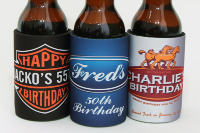 Some of our favourite mock-brand birthday stubby holders