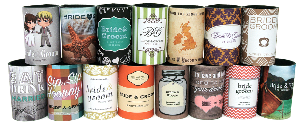 We have well over 130 brand new, fabulous new wedding stubby holder templates and each one be coloured as you like - there are literally billions of combinations possible!