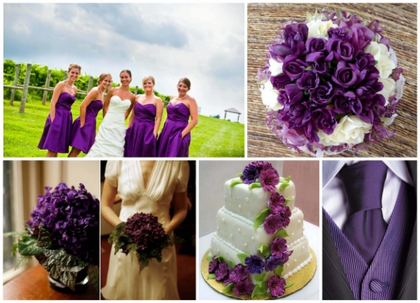 February's vibrant purple colour options - works wonderfully in combination with ivory and cream - and also shades of silver too!