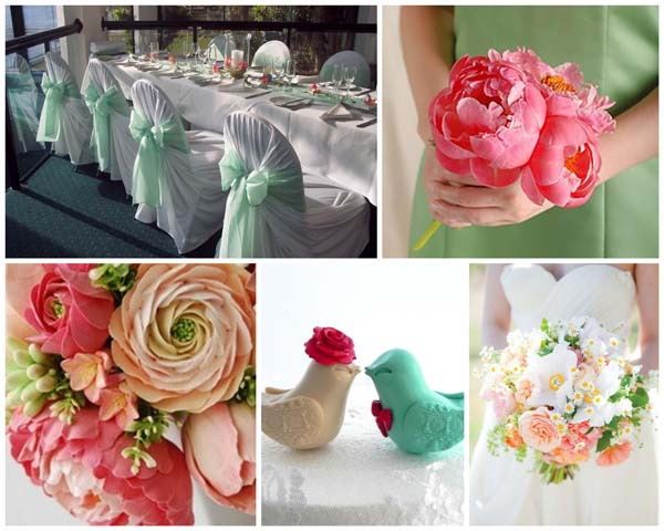 Vintage palettes are currently very  en vogue  - mint, coral, cream and baby blues all work exceedingly well together.