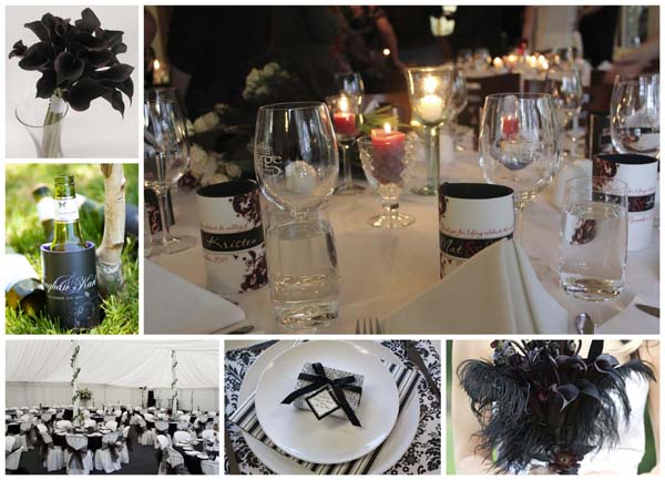 Black and white is very easy to design classic wedding stubby holder with - most of our designs have a black and white option that will look fabulous.