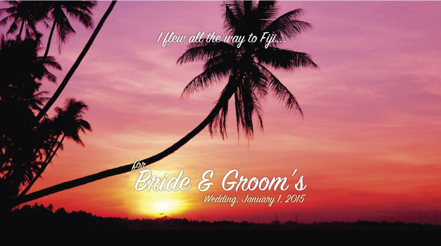 Tropical sunset on a wedding stubby holder. This image works for number of stunning tropical locations