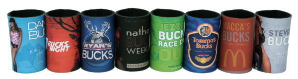 Bucks stubby holders are fun way to remember the night that maybe should be forgotten.