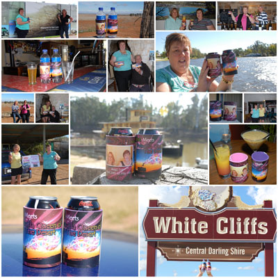 Coolaz's stubby holders on tour around Australia wth Tracy and Sue