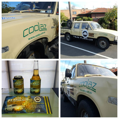 Coolaz subsiidised a few hundred stubby holders and placed a sponsor's decal on the car for its journey up to the Top End