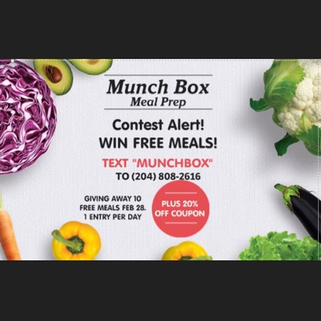 """CONTEST ALERT! MEAL PREP GIVEAWAY! Win 10 meals. Draw taking place Feb 28, 2018. No purchase necessary. 1 entry per day. For Winnipeg residents only.  Text """"munchbox"""" to 204-808-2616.  Good luck #winnipeg  #winnipegcontest #204 #manitoba #pegcity #winnipegfood #winnipegfitness #pegcitygrub #munchbox #mealprep #winnipegeats"""