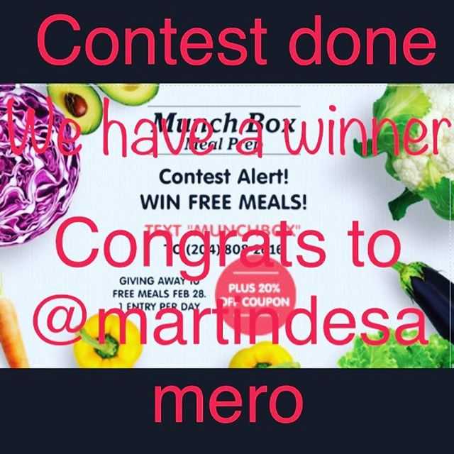 Congrats to @martindesamero on winning our meal prep contest and thank you for everyone who participated. Another contest will be held soon.  Martin, please email info@Munch-Box.ca to claim your meals.  #winnipeg #204 #manitoba #pegcity #munchbox