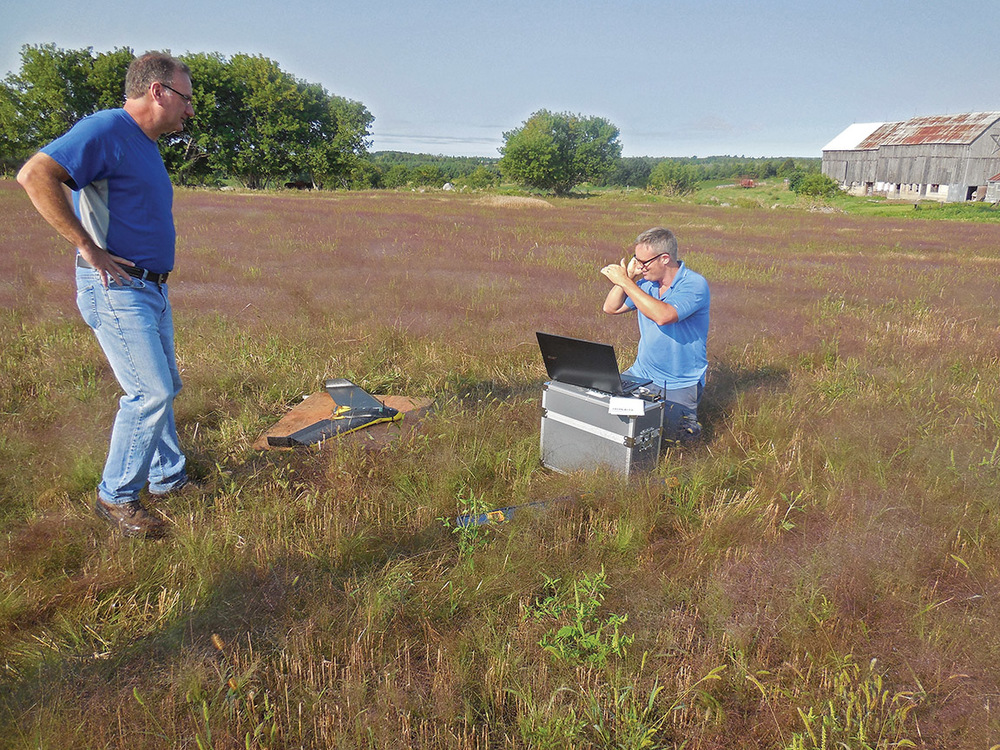 P.A. Miller's Dave Parks (left) and Kevin Smith work with their new tool. By using an internet mapping program like Goggle Earth the surveyors can design a flight plan for the drone. Photo by Angela Hawn