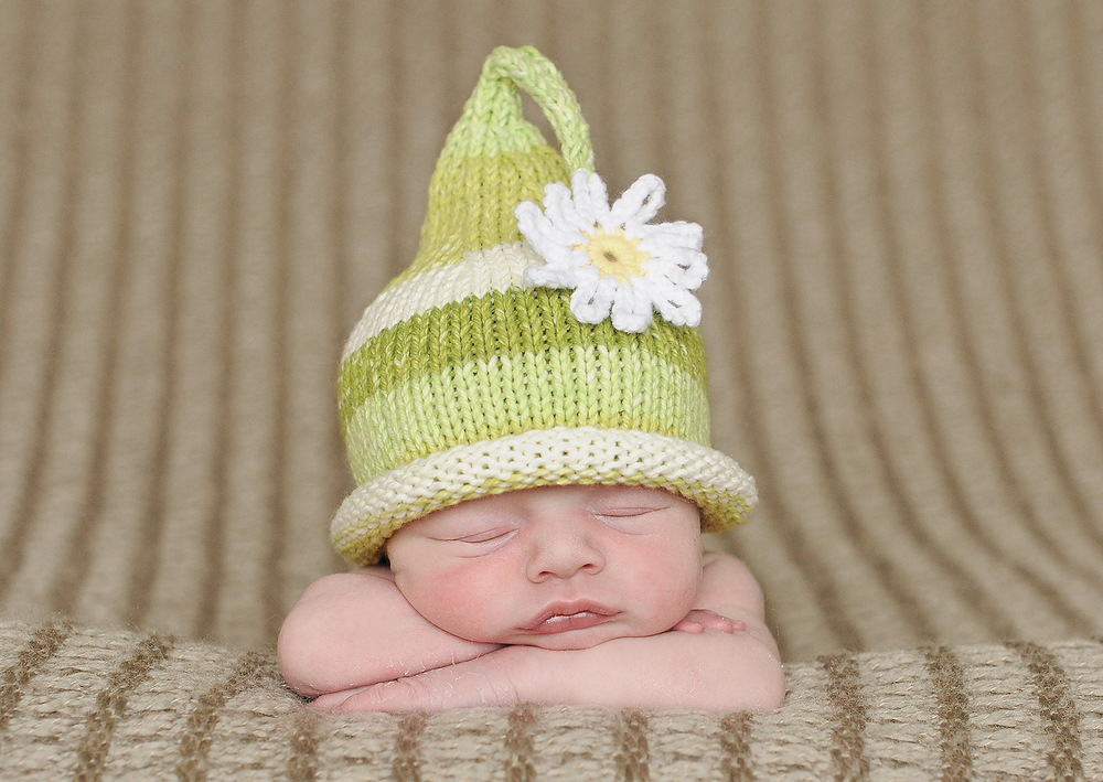 'Knit Hats For Babies' was the first book of Garrett's to be published, and came out in 2013. Photo by Christina Anne Photography