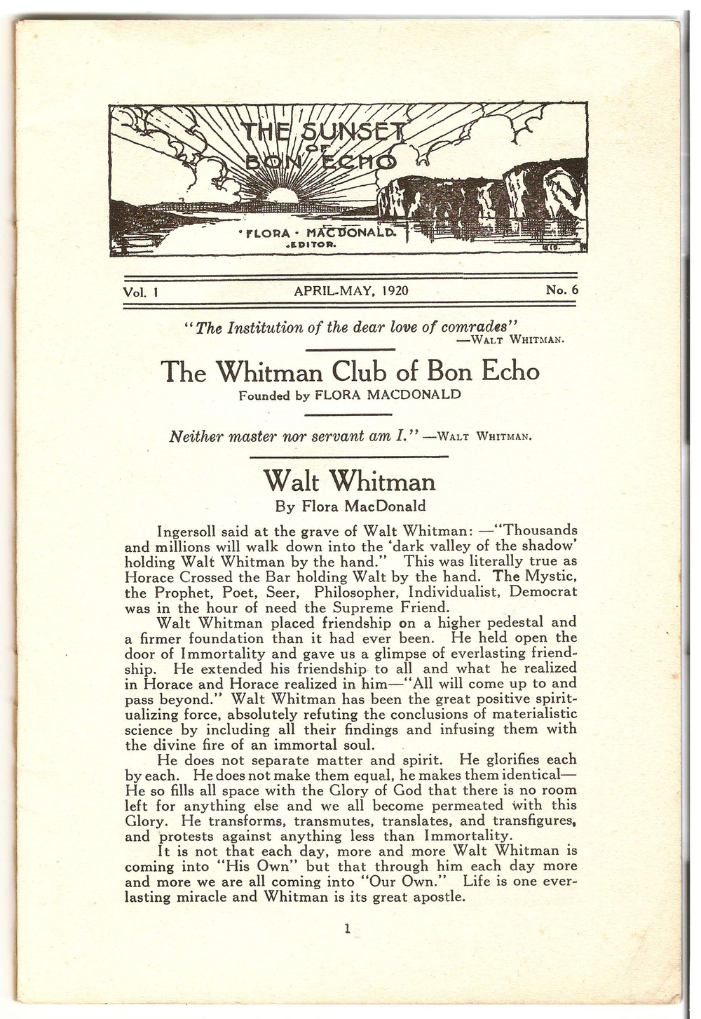 Page 1 of the official journal of The Whitman Club of Bon Echo, as published in the spring 1920 edition of  The Sunset of Bon Echo .