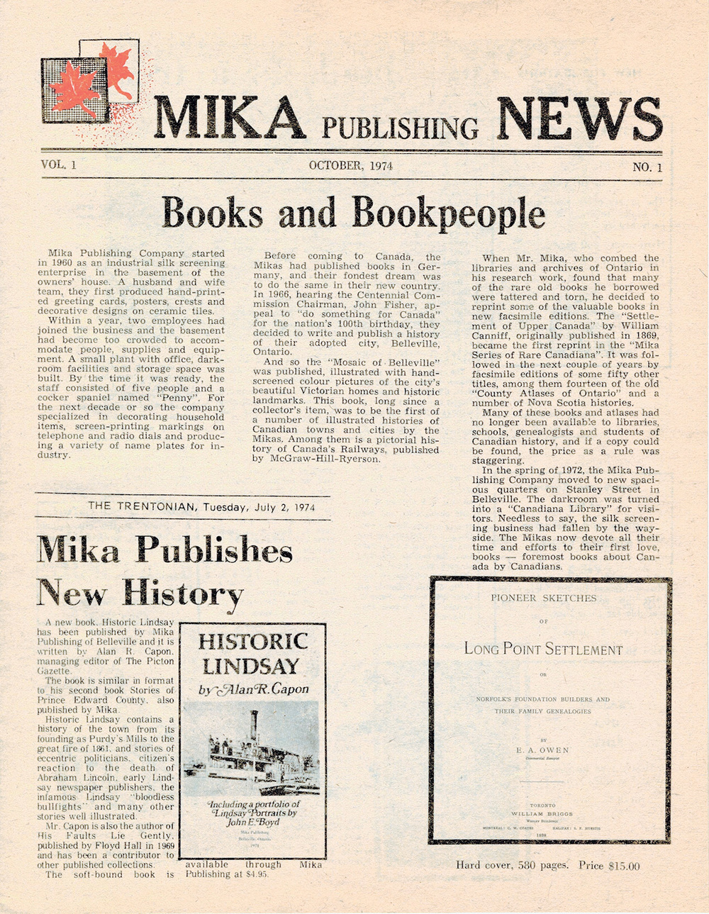 Front page of Mika Publishing News, Vol.1, No.1., October 1974. The Mikas published their first book in 1962