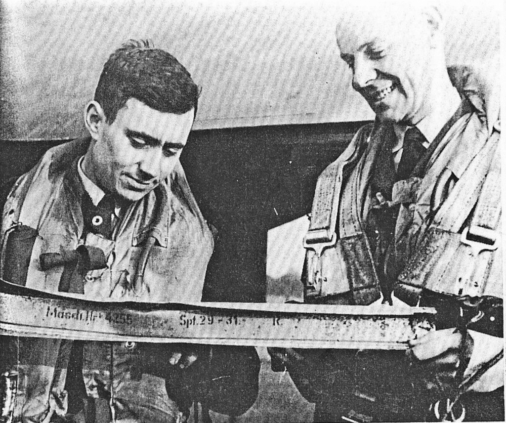 Pepper and J.H. Toone (right) were honoured for shooting down three enemy aircraft on a single night in the fall of 1942.