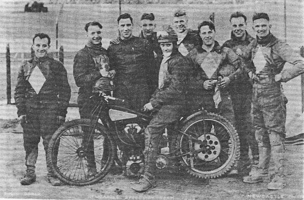 As captain of the Newcastle Speedway team, Pepper (on bike) led the squad to the Division Two title in 1938.