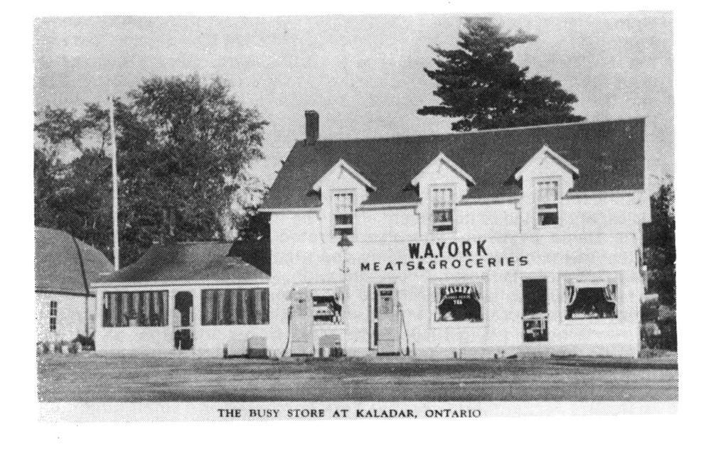 A familiar sight on Highway 7 at Kaladar, this store was operated by Arnold York and his wife from 1934 to the late 60s. The previous owner of the site was Jack Pringle of Arden, who went on to become the local MP.  Photo courtesy The Barry Penhale Collection