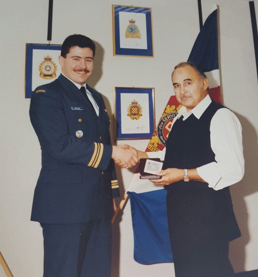Pearson (left) spent 20 years in the military and then another 20 years as a civil servant at 8-Wing Trenton. Photo courtesy the Pearson Family