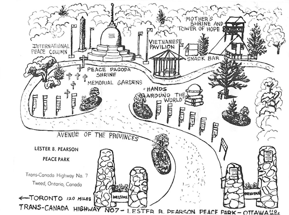 The Peace Park came into being during Canada's centennial year of 1967, and was named for the prime minister of the time, Lester B. Pearson, who was a recipient of the Nobel Peace Prize. Sketch map courtesy Evan Morton, Tweed & Area Heritage Centre and The Tweed News