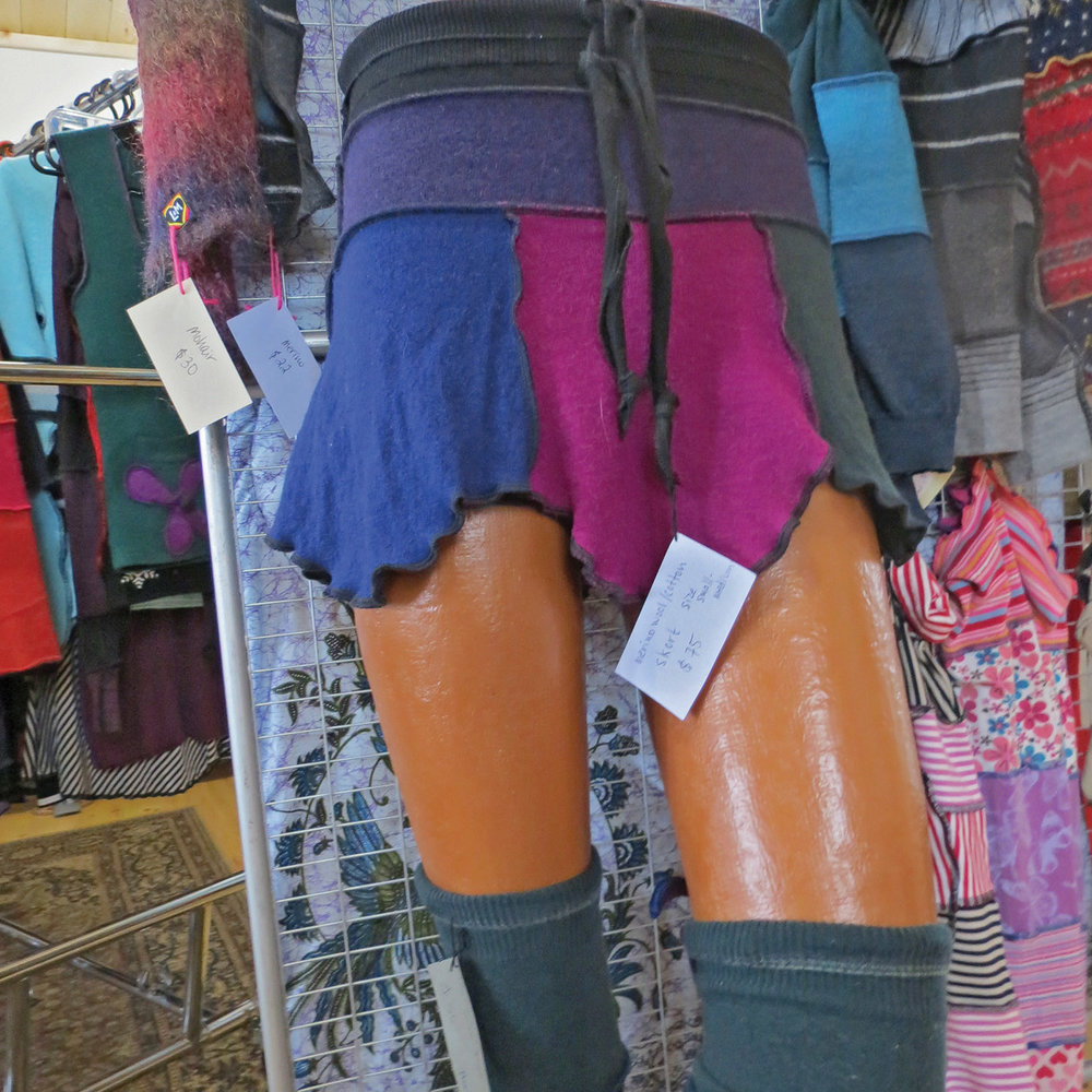 Lucky Maloo's wool mini-skirts are a popular and colourful accessory and have become the company's biggest seller. Photo by Sarah Vance
